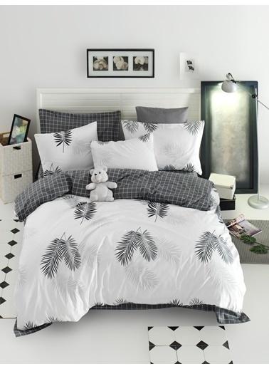 EnLora Home Enlora %100 Doğal Pamuk Nevresim Seti Çift Kişilik Pipong Beyaz